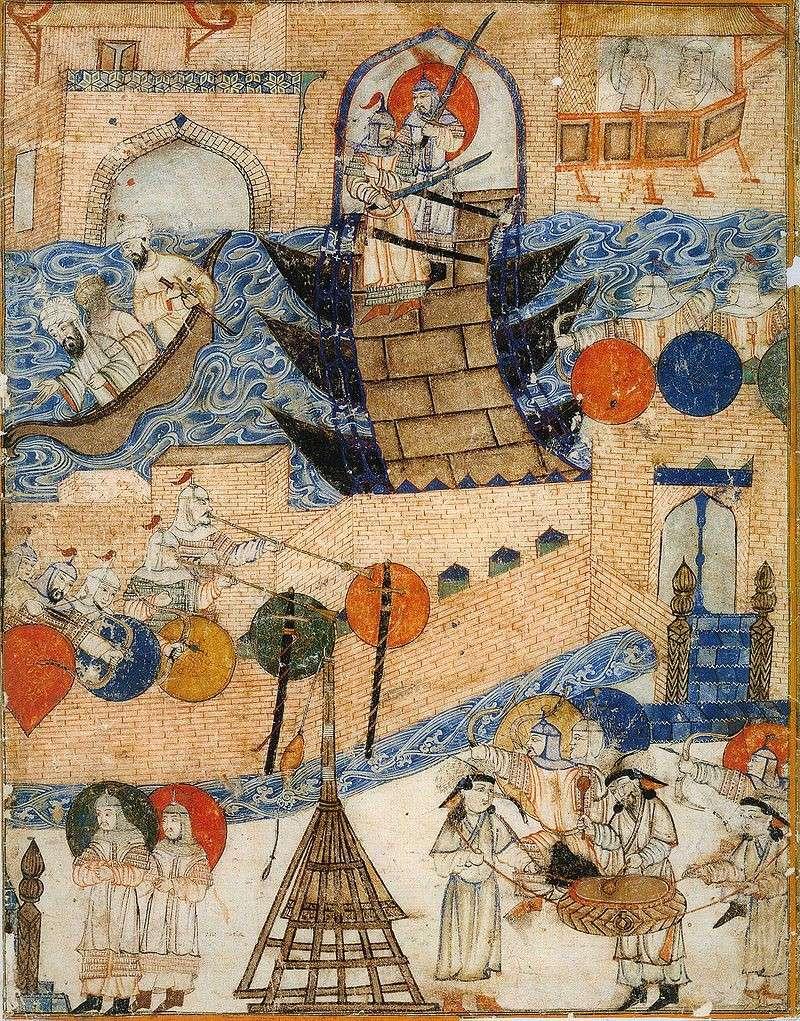 描繪蒙古人圍攻巴格達的細密畫。(作者提供)
