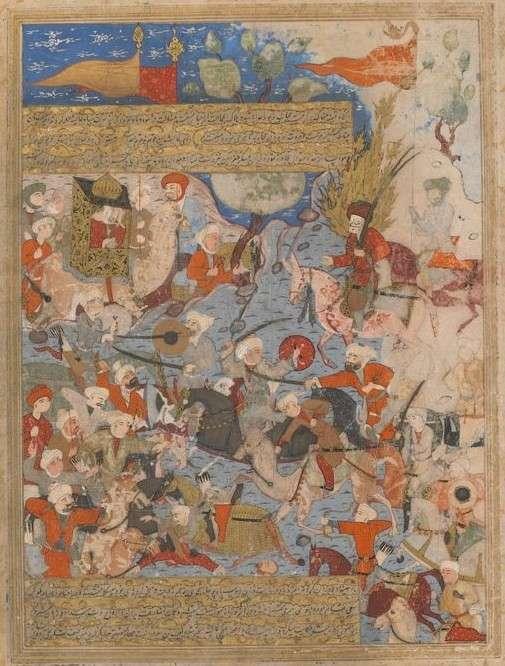 描繪巴士拉戰役的細密畫作品,左上角的轎中女人即是穆罕默德的遺孀阿依莎。(作者提供)