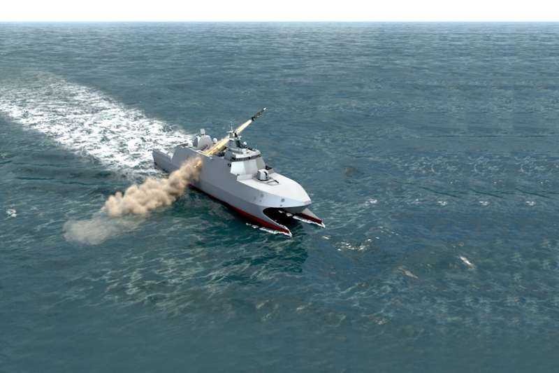 20190524-「高效能艦艇後續艦」舉行建造開工典禮,圖為沱江後續艦發射雄三反艦飛彈。(取自海軍臉書)