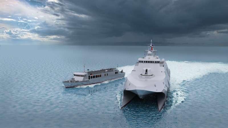 20190524-快速布雷艇(左)、高效能艦艇後續艦(右)今天舉行建造開工典禮。(取自海軍臉書)
