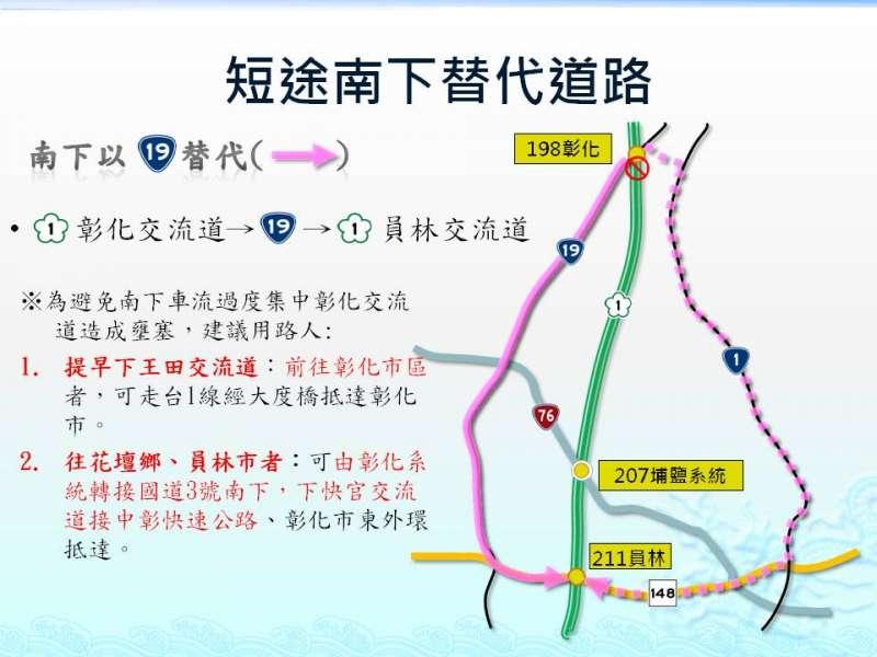20190526-國道1號南下路段封閉期間,警方規劃改走市區道路,避開國道封閉路段。(彰化縣警察局提供)