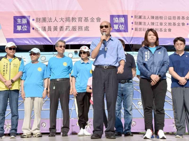 韓國瑜說,高雄現在財政困難、經濟疲弱,期待把高雄的經濟衝起來。(圖/徐炳文攝)