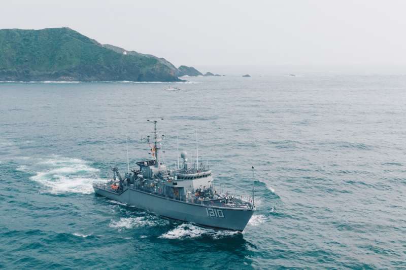 漢光演習,獵雷艦開闢安全航道。(軍聞社)