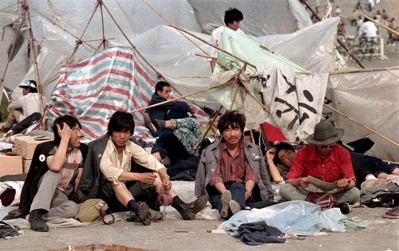 六四、天安門、1989年6月2日,民主示威者佔領天安門廣場。(AP)