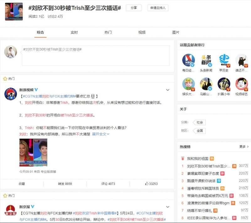 美中女主播貿易戰辯論美東時間29日8時開戰,福斯財經新聞網主播黎根(右)對中國環球電視網劉欣(左)進行訪問,引起中國網友熱議。(圖取自微博)