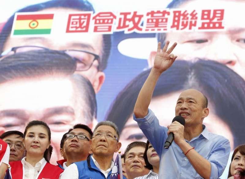 妙天國會政黨聯盟的標誌,顯眼地出現在601挺韓大會。(郭晉瑋攝)