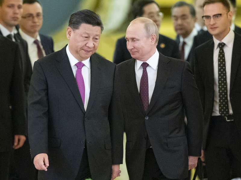 2019年6月5日,中国国家主席习近平访问俄罗斯,与俄国总统普京会晤。(AP)
