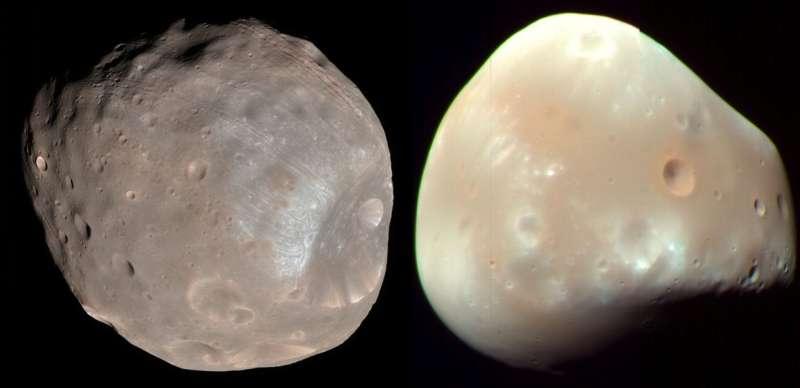 火星的兩顆衛星「火衛一」(Phobos,左)與「火衛二」(Deimos)(Wikipedia / Public Domain)