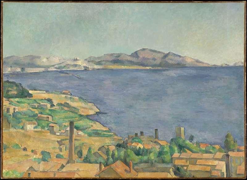 《從埃斯塔克看馬賽灣》(1885),藏於大都會博物館。(取自維基百科)