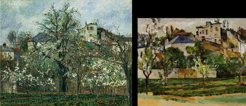 1877年兩位藝術家並肩寫生的畫作。左為畢沙羅(藏於奧塞美術館),右為塞尚(Jay Pack夫婦收藏)。(取自維基百科)