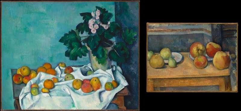 左為塞尚《蘋果與報春花的近物畫》(1890)右為塞尚《蘋果與梨子的近物畫》(1891-92)。皆藏於大都會博物館。(取自維基百科)