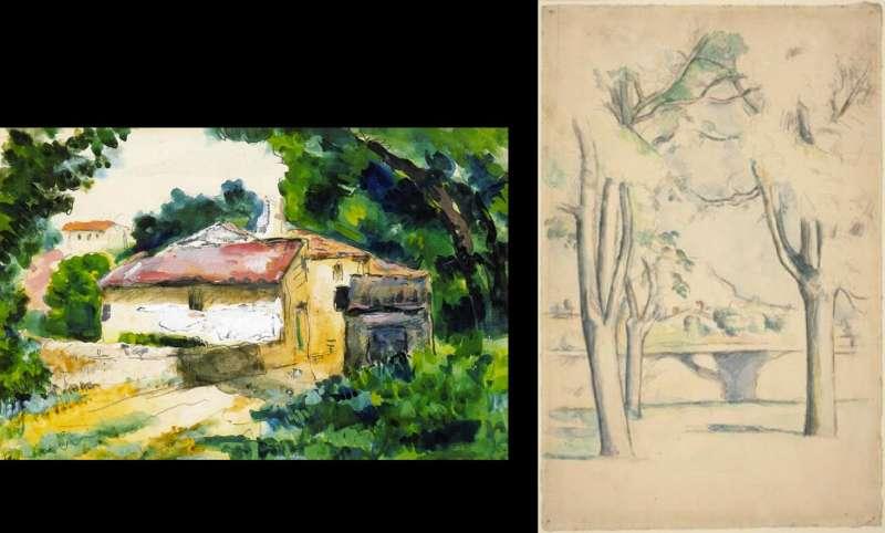 左為塞尚1867年的水彩畫。右為1885-88年水彩畫(藏於美國國家藝廊)。(取自維基百科)
