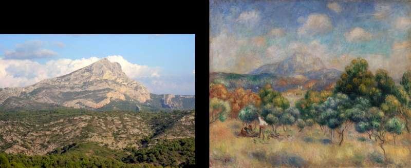 左為聖維克多山的照片。右為雷諾瓦1886年描繪的聖維克多山。(藏於耶魯大學美術館)(取自維基百科)