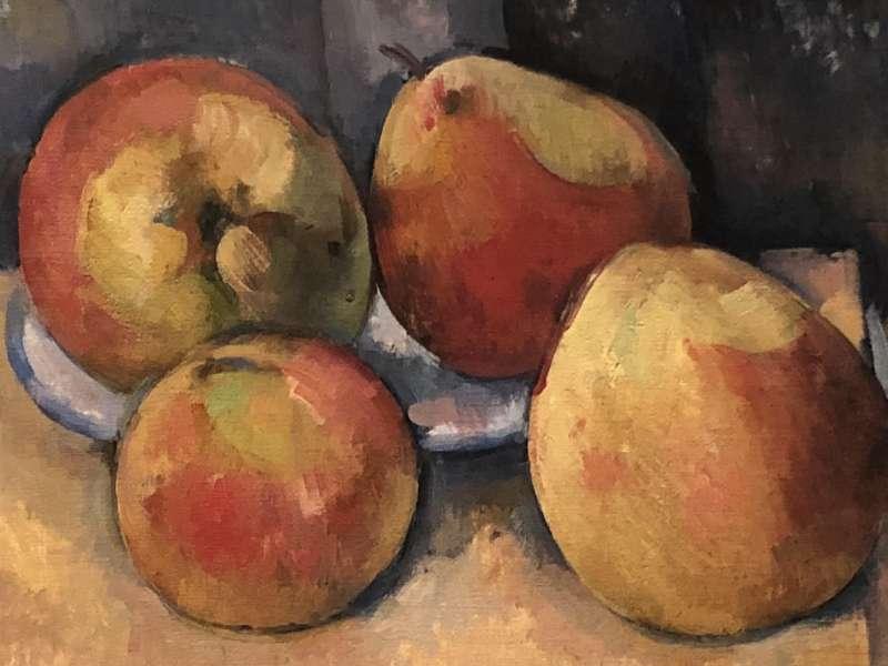 塞尚《蘋果與梨子的近物畫》的局部放大細節。(取自維基百科)
