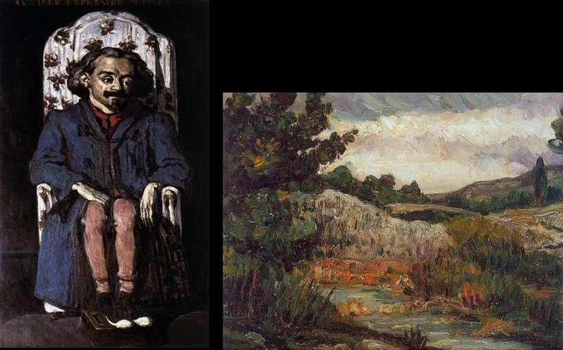 塞尚早期畫作。左為 《Achille Emperaire畫像》(1867-70,藏於奧塞美術館)。右為《聖維多克山》(1865,私人收藏)(取自維基百科)