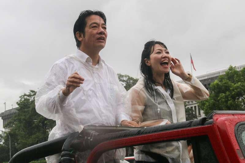20190611-前行政院長賴清德(左)壯大台灣車隊遊行抵達終點,並發表談話。(蔡親傑攝)