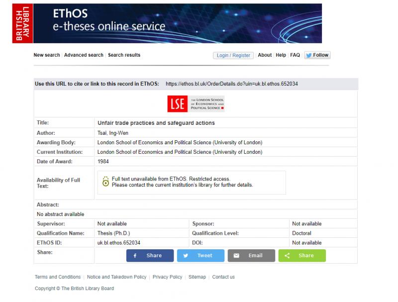 20190611-總統蔡英文論文被質疑造假,但搜尋大英圖書館論文搜尋系統網站,就有蔡英文當年的論文資料。(截圖自大英圖書館論文搜尋系統)