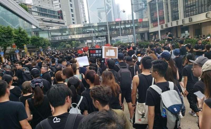 金鐘悼念現場 20190616_香港16日下午「反送中」大遊行。(I.C提供)