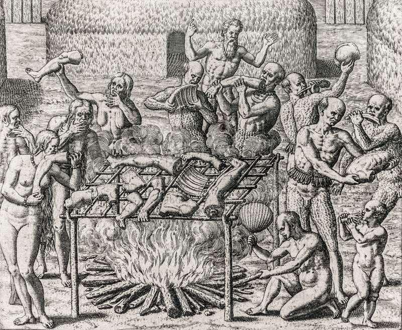 1557年漢斯.史達頓曾畫下在巴西的人吃人行為(圖/維基百科)