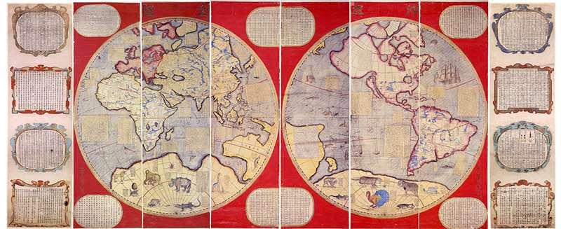 《坤輿全圖》等多款地圖,是當時東亞人認識新世界的有趣視角。 (圖/故宮博物院提供)