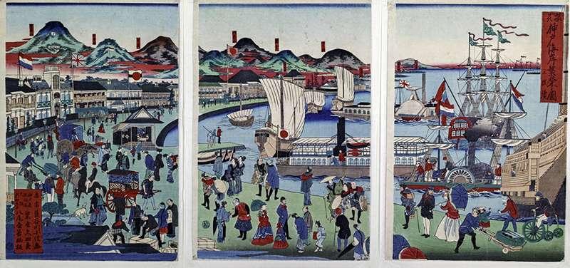《攝州神戶海岸繁榮圖三聯作》中讓人得以想像神戶1868年做為國際港灣都市的繁華景象。(圖/故宮博物院提供)
