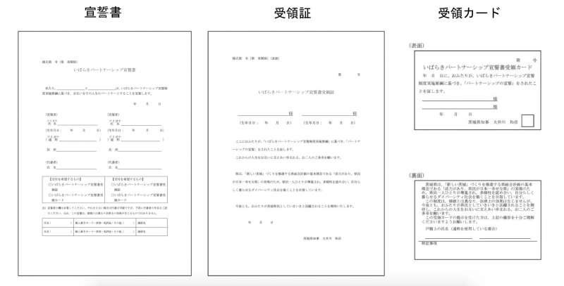 茨城縣的同性伴侶宣誓書與證書。(翻攝茨城縣官網)