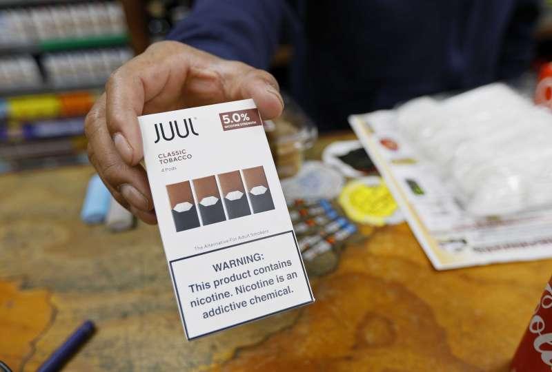Juul在美國電子煙市佔率超過70%,對電子煙禁令提出質疑。(美聯社)