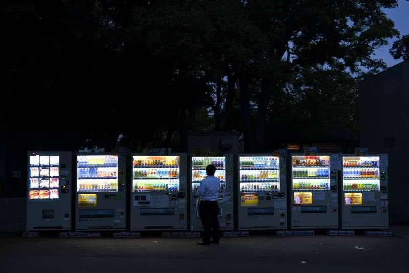 日本,自動販賣機。(美聯社)