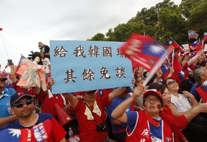 郭韓相爭國民黨總統初選提名,深藍選民扮演關鍵角色。(郭晉瑋攝)