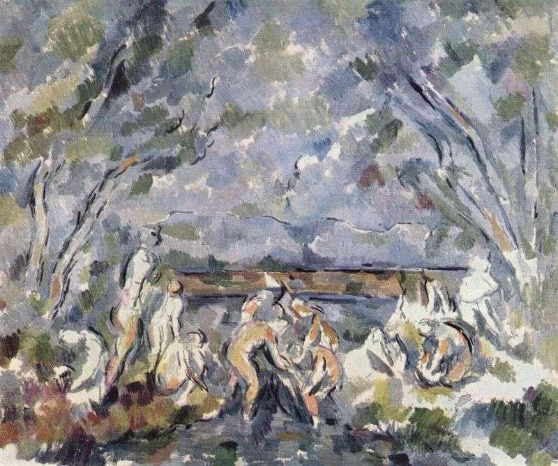 塞尚晚期作品《洗浴者們》,1904年,私人收藏。