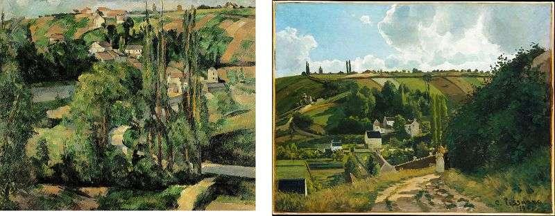 兩幅同為蓬圖瓦茲山丘的畫,左為塞尚(1879年),右為畢沙羅(1867年),皆藏於大都會博物館。