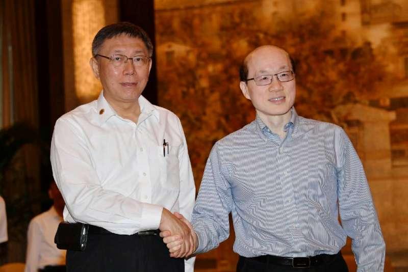 20190705-台北市長柯文哲今日下午在上海西郊賓館與中國國台辦主任劉結一會面。(台北市政府提供)