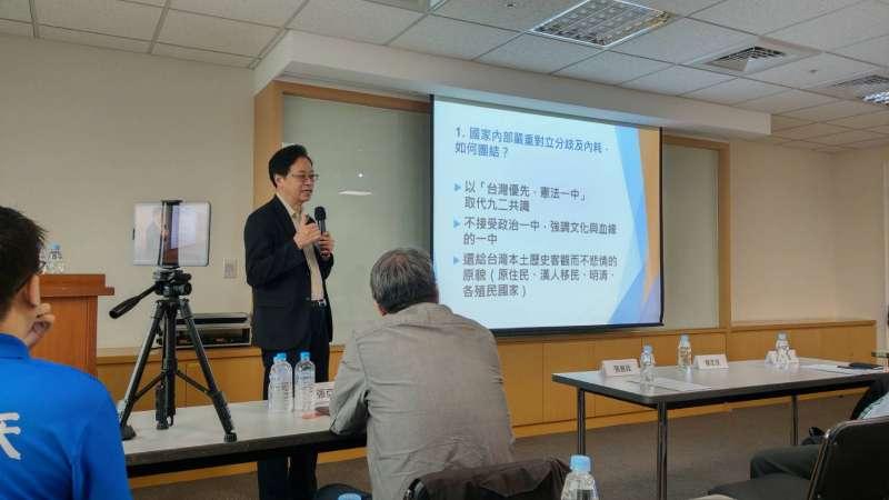 20190709-前行政院長張善政9日表示,對於兩岸,他的論述是「台灣優先、憲法一中」。(潘維庭攝)