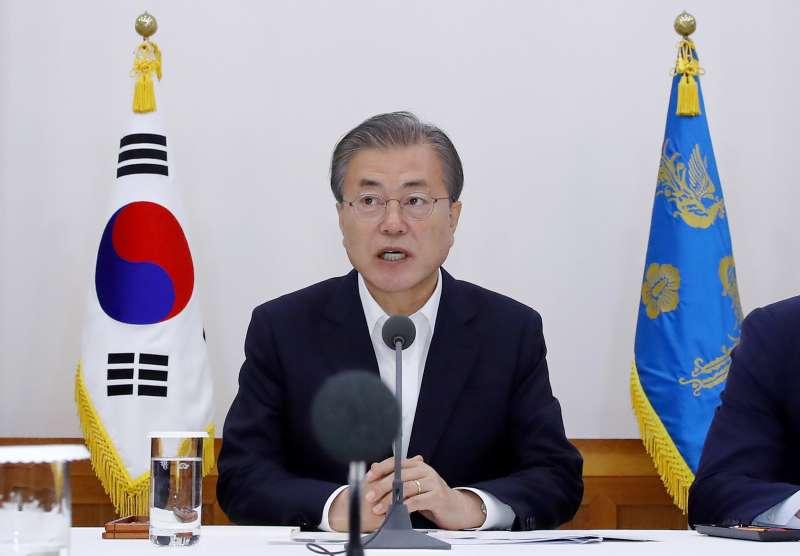 2019年7月10日,南韓總統文在寅針對日韓貿易戰最新進展作出回應。(AP)