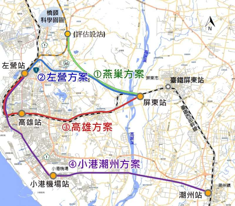 2019-07-11_高鐵南延屏東的4個路線方案。(交通部鐵道局提供)