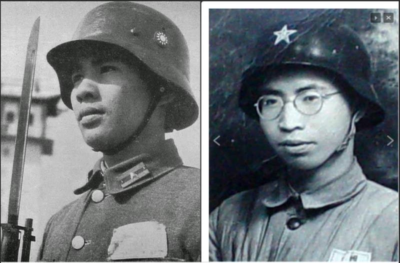頭戴德軍M35鋼盔的中國軍人,一直是抗戰初期國軍抵禦外侮的最佳象徵。可惜國軍頭戴M35鋼盔參戰的機會並不多,反而大量鋼盔在上海南京淪陷後由汪精衛政權的和平建國軍(左)接收。大陸淪陷後,絕大多數的M35鋼盔則由中國人民解放軍接收。(作者許劍虹提供)