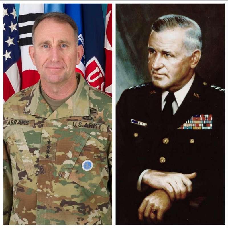 聯合國軍司令羅伯特・艾布蘭(左)與他的父親駐越美軍總司令小克雷頓・艾布蘭(右)。美軍的艾布蘭戰車之名就是要向小克雷頓・艾布蘭致敬,他的三個兒子也都是美軍將領。