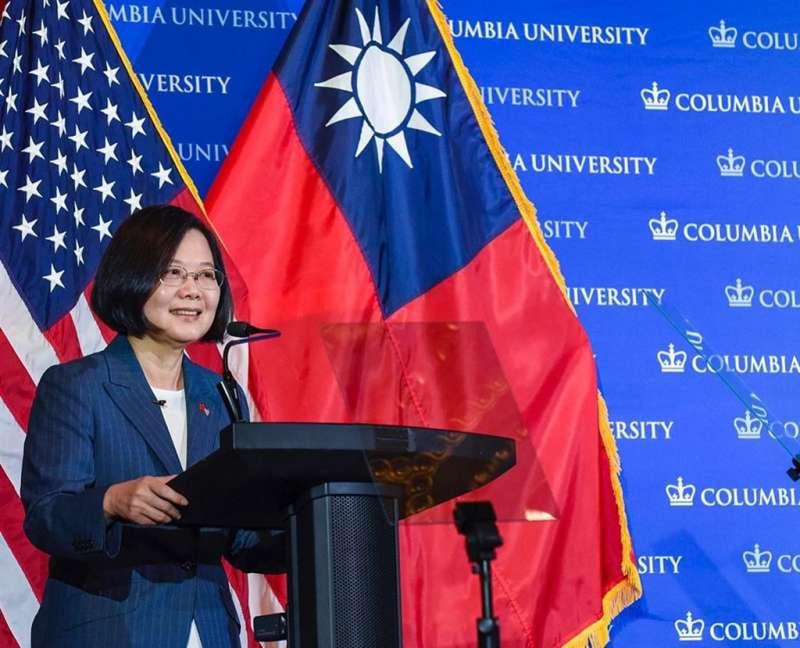 20190713-總統蔡英文13日在美國哥倫比亞大學演講表示,全球自由遭遇前所未有威脅,台灣一直站在民主最前線,民主轉型故事須讓世界聽見。(取自哥倫比亞大學instagram)