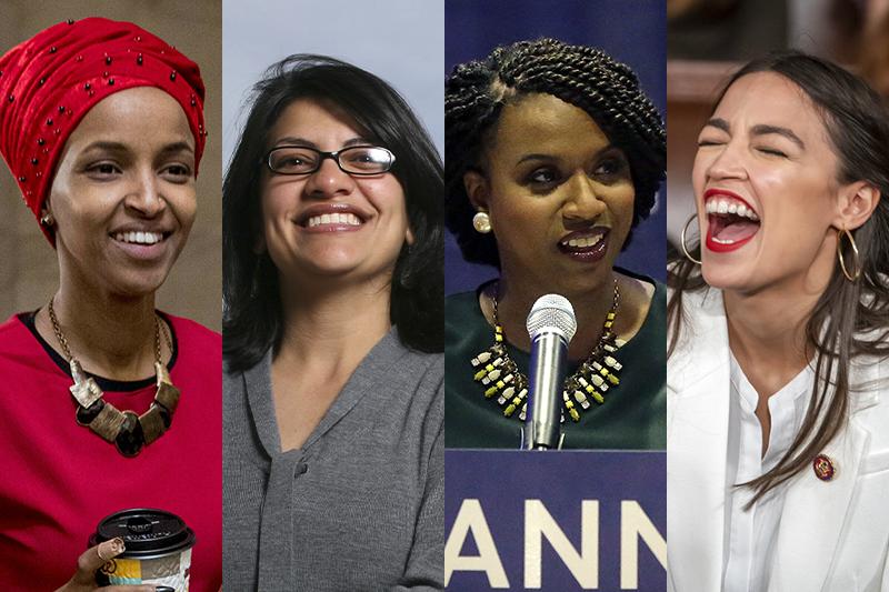 美國民主黨新科聯邦眾議員「四人幫」,由左而右分別是歐瑪爾、特萊布、普瑞斯利和奧卡西歐─寇特茲(AP資料照,風傳媒製圖)