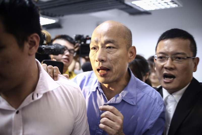 國民黨總統初選勝出後,韓國瑜立即前往朱立倫辦公室拜訪。(陳品佑攝)