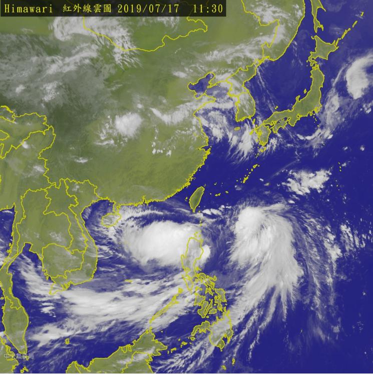 20190717-中央氣象局於17日上午11:30分發布陸上颱風警報。(取自中央氣象局)