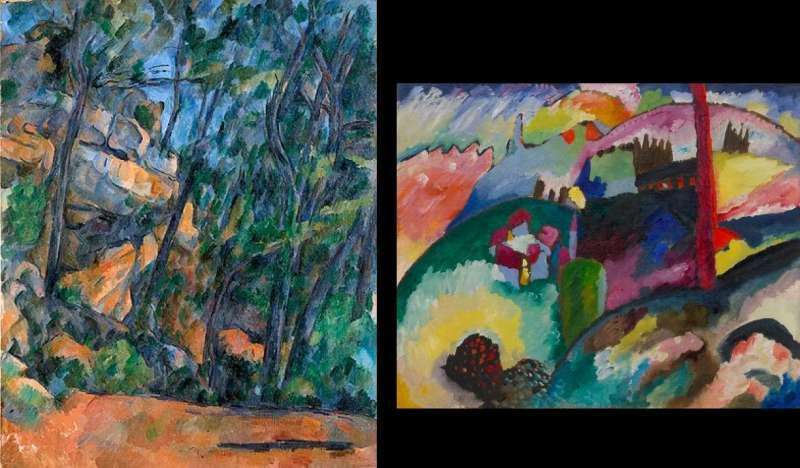 左為塞尚1904年的《黑堡的樹與石頭》(Museum Langmatt),右為康丁斯基於1910年畫作的《含有工廠煙囪的景色》,藏於古根漢美術館。(作者林意凡提供)