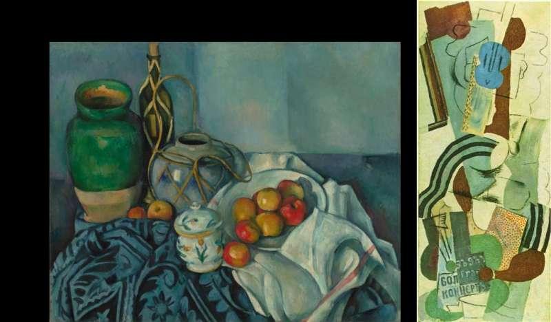 左為塞尚於1893-94年的《蘋果靜物畫》(藏於蓋蒂博物館),右為畢卡索於1913年的《拿吉他的女人》,藏於紐約現代美術館。(作者林意凡提供)