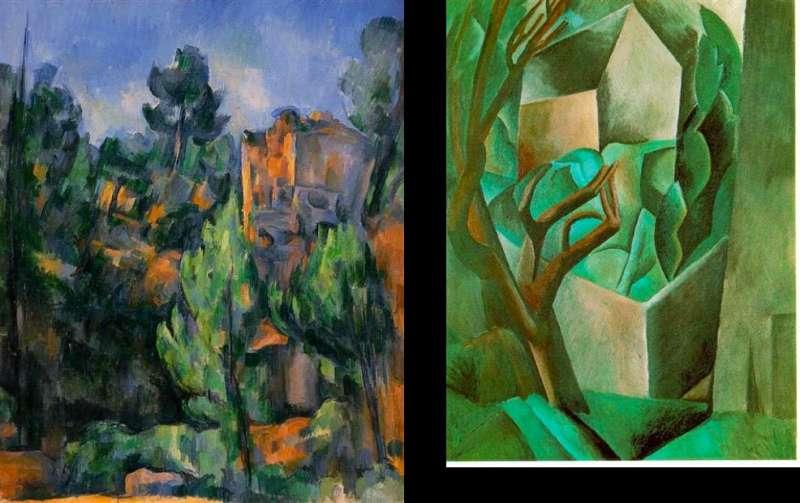 左為塞尚於1898年的《採石場》(私人收藏),右為畢卡索於1908年以立體派方式作畫的《花園中的房子》,藏於普希金美術館。(作者林意凡提供)