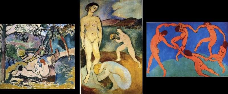 馬蒂斯畫作。由左至右,1905年的《牧歌》(巴黎現代藝術博物館),1907年的《奢華》(龐畢度中心),1910年的《舞》,藏於艾米塔吉博物館。(作者林意凡提供)