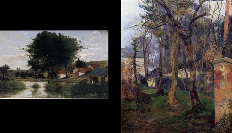 高根早期與中期畫作比較。左為1877年《秋季景色》,右為1884年《盧昂荒廢的花園》。(作者林意凡提供)