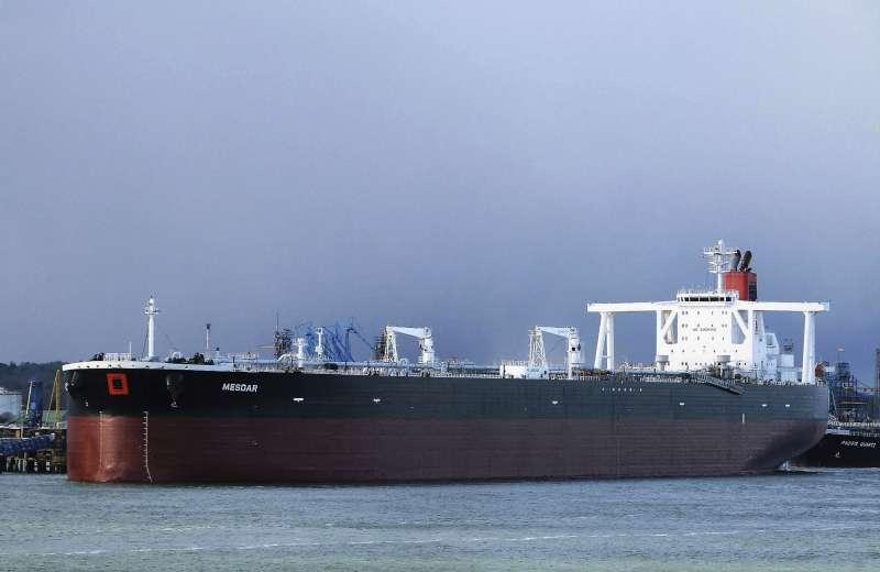2019年7月19日在荷莫茲海峽遭伊朗扣押的英國油輪「美斯達號」(Mesdar)(AP)