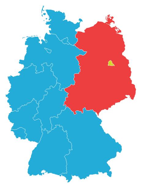 冷戰時期的西柏林被東德(紅色區塊)包圍,藍色區塊則為西德。(圖/維基百科)