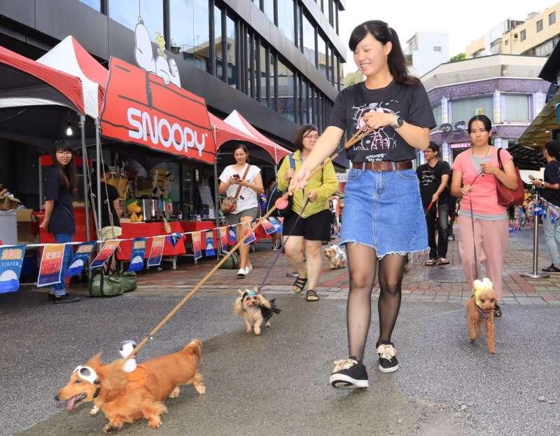 活動當天還舉辦DogWalk狗狗走秀,30對毛小孩與主人以登陸月球為主題精心打扮,在中央公園商圈內踩街。(圖/徐炳文攝)