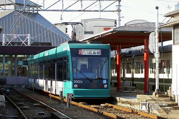 廣電宮島口站,這條長16公里的「宮島線」,是廣電唯一的「鐵道線」。(圖/作者提供)